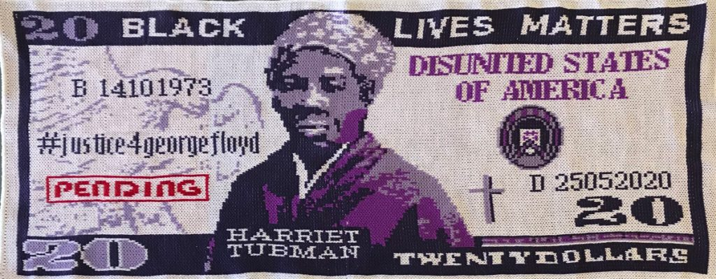 Knitted Harriet Tubman $20 bill featuring George Floyd